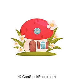 Fairy-tale house in the form of a mushroom. Vector illustration on white background.
