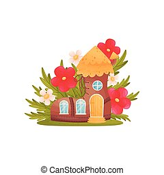 Fairy-tale house in the form of shoes among the grass and flowers. Vector illustration on white background.