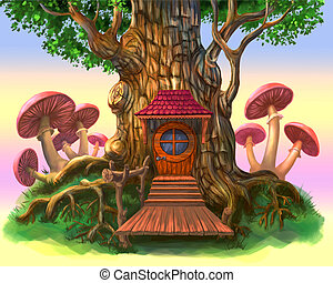 Fairy-tale house in the tree