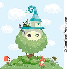 Fairy tale house. Vector illustration background. Vector...