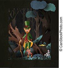Fairy tale illustration Leprechaun wearing hardtop hat with ...