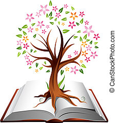 Illustration of a tree with coloured leaves growing out of an open book