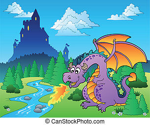 Fairy tale image with dragon 1 - vector illustration.