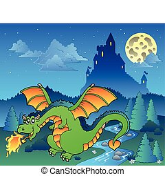 Fairy tale image with dragon 4 - vector illustration.