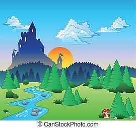 Fairy tale landscape 1 - vector illustration.