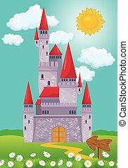 Fairy Tale magic Princess Castle, summer season, illustration for child
