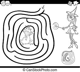 fairy tale maze coloring page - Black and White Cartoon...