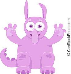 Cartoon Illustration of Funny Monster or Weird Fantasy Creature