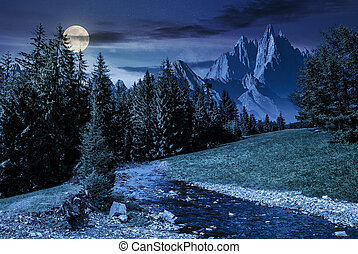 fairy tale mountainous summer landscape at night in full...
