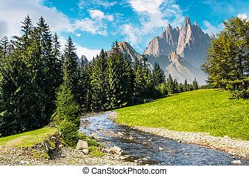 fairy tale mountainous summer landscape. composite image...