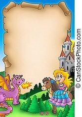 Fairy tale parchment 2 - color illustration.
