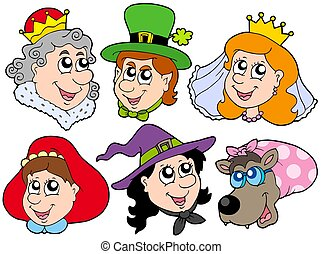 Fairy tale portraits collection - isolated illustration.