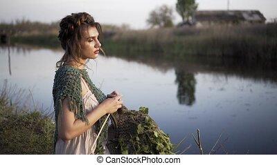 Fairy Tale Princess Bride Walking alone Enchanted river bank...