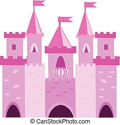 Fairy tale princess castle with turrets. Pink palace. Vector illustration for children, kids books