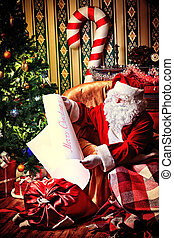fairy tale - Santa Claus with a list of Christmas presents...