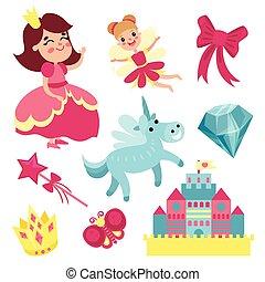 Fairy tale set, little princess and fairy with unicorn,...
