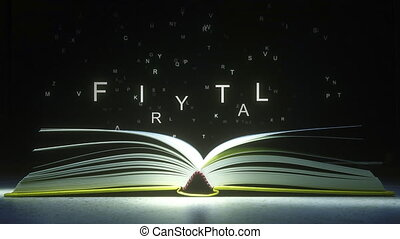 FAIRY TALE text made of glowing letters vaporizing from open...