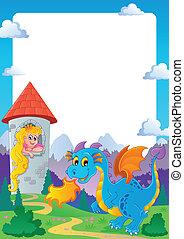 Fairy tale theme frame 2 - vector illustration.