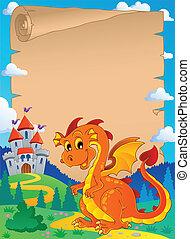Fairy tale theme parchment 3 - vector illustration.