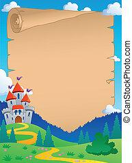 Fairy tale theme parchment 4 - vector illustration.