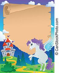 Fairy tale theme parchment 5 - vector illustration.