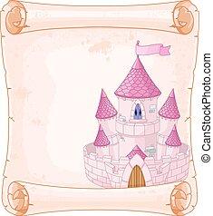Fairy tale theme parchment castle design