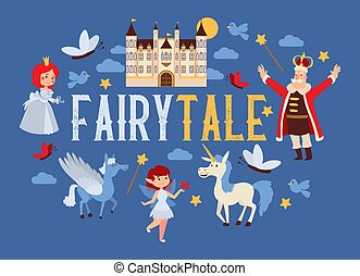 Fairy tale vector cartoon kingdom king princess character in castle fairytale palace tower backdrop royalty of unicorn pegasus illustration background