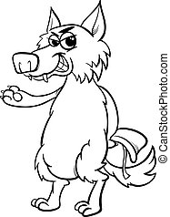 fairy tale wolf coloring page - Black and White Cartoon...