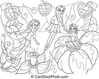 Fairy-tale world of fairies coloring book for children cartoon vector illustration