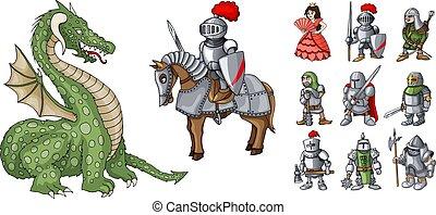 Fairy tales cartoon characters. Fantasy knight and dragon, princess and knights