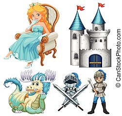 Fairy tales - Set of fairy tales with knight and castle