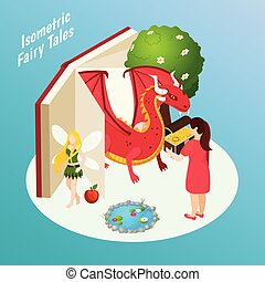 Fairy Tales Isometric Composition