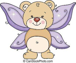 Fairy teddy bear with purple wings