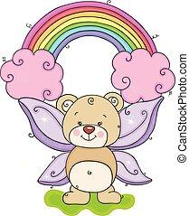 Fairy teddy bear with rainbow