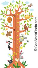 Fairy tree with birds, insects and animals with leafs and flowers for kids room. Height chart or meter wall or wall sticker. Children vector illustration with scale 50 to 140 cm to measure growth