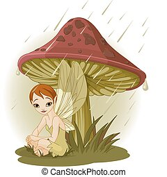 Fairy under Mushroom - Cute Fairy wearing rain gear under...