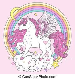 Fairy unicorn on a rainbow. Children's illustration. Vector.
