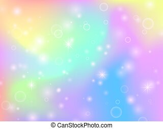 Fairy unicorn rainbow background with magic sparkles and stars. Multicolor fantasy abstract vector backdrop