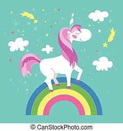 Fairy unicorn with rainbow. Vector illustration