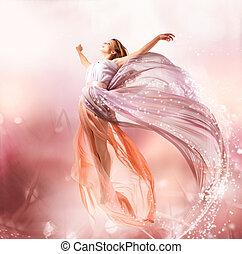 fairy., vacker, flicka, in, blåsning, klänning, flying.,...