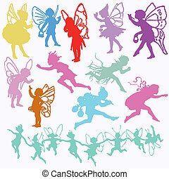 Fairy Angel Cherub valentine cupid set silhouettes