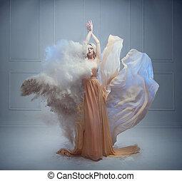 fairy-verhaal, vrouw, jonge, pose, prachtig