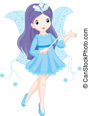 Fairy winter - Very nice winter fairy with a magic wand