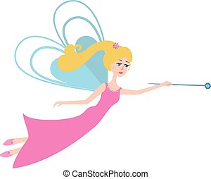 Fairy with a magic wand flying.