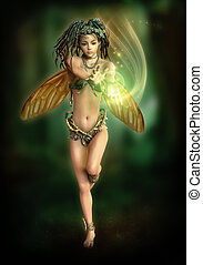 Fairy with a shining Ball, 3d CG - 3d computer graphics of a...