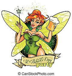 Fairy with beer mug - Beautiful leprechaun girl with beer,...