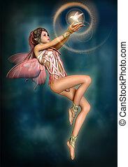 Fairy with glowing Bird, 3d CG - 3d computer graphics of a...
