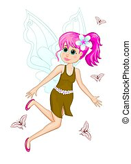 Fairy with pink hair