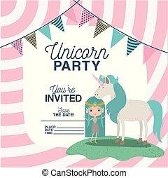 Bright Invitation Card With Cute Fairy Mermaid Birthday Party Card
