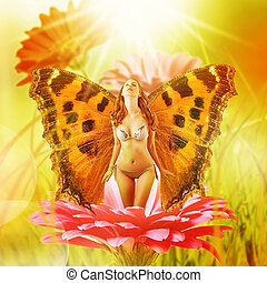 fairy with wings on a flower - Beautiful fairy with wings on...